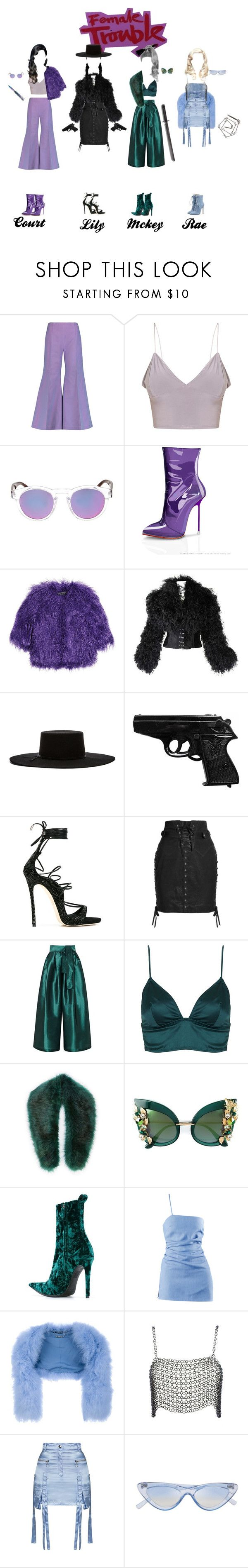 """Femme Fatale"" by mckeyluvsu ❤ liked on Polyvore featuring Acne Studios, Illesteva, Shrimps, Brixton, Dsquared2, Isabel Marant, Tome, Topshop, Sole Society and Dolce&Gabbana"