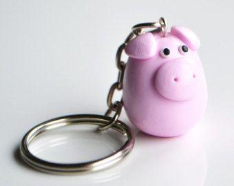 Pig Keyring Keychain, Fimo, Polymer Clay