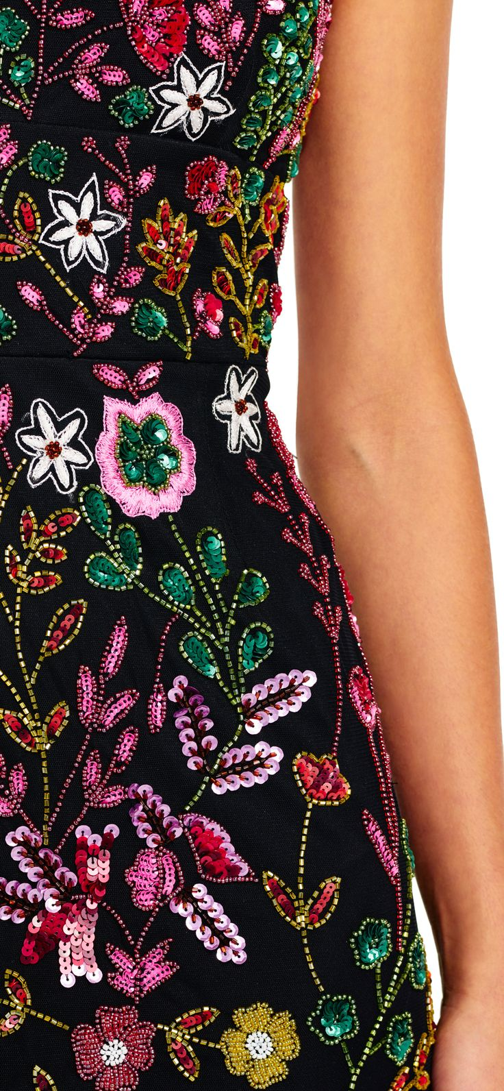 Bright Beaded Floral Blouson Godet Dress | Adrianna Papell