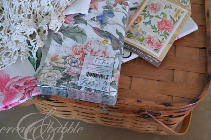 Rescued Picnic Basket - I recently gave new life to an old, tired picnic basket. And all I used were some paper napkins and Mod Podge. I foun