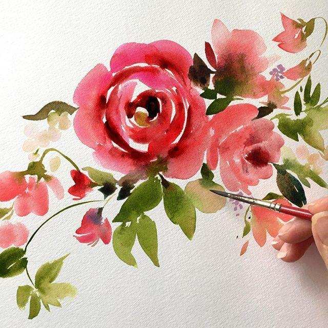 25+ best ideas about Watercolor rose on Pinterest | Paint flowers ...