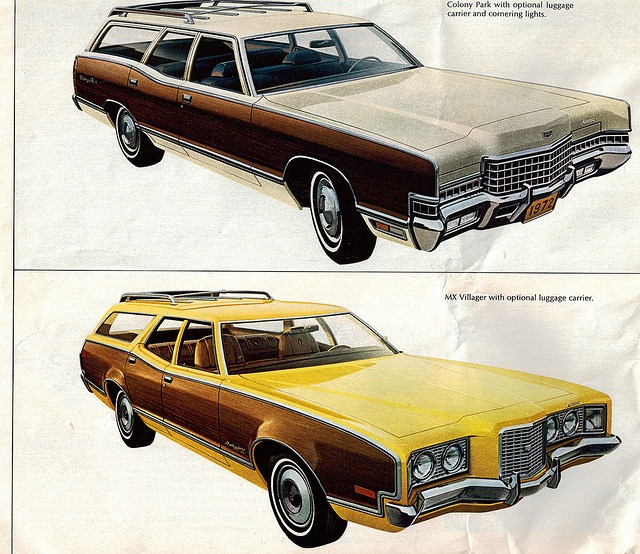 1972 Mercury Marquis Colony Park and Montego MX Villager Station Wagon