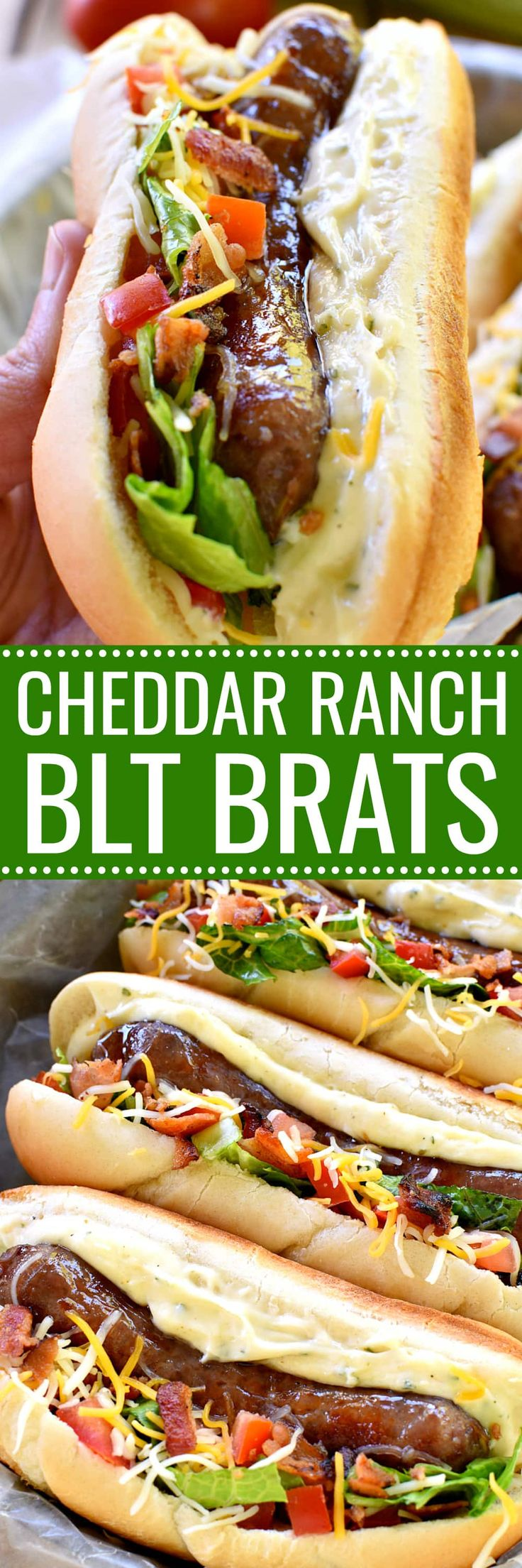 These Cheddar Ranch BLT Brats combine all the best flavors in one delicious sandwich! Perfect for Father's Day, game day, or any day....this sandwich is packed with favor and SO easy to make! @jvillesausage #ad