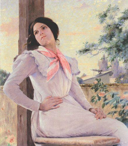 EN EL BALCÓN,  Oleo sobre Tela 103 x 90 cm Museo Nacional de Bellas Artes