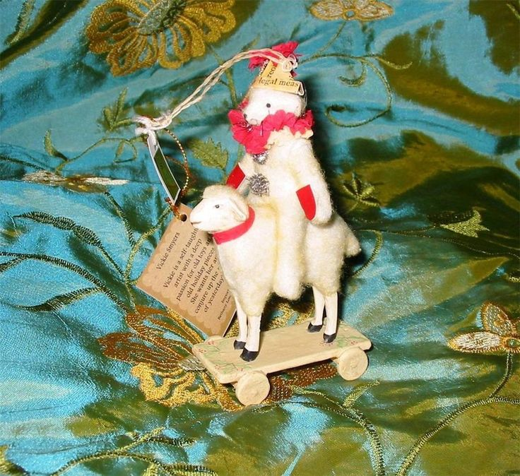 Bethany Lowe Vickie Smyers Teddy Riding Lamb Christmas Ornament Cute!