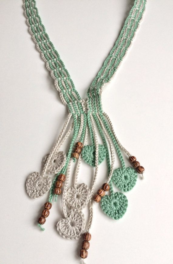 Limestone and orchard hearts long beaded crochet necklace