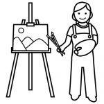 Pintor Dibujalia Dibujos Para Colorear Elementos Y Objetos Del Entorno Personas Profesiones Pintor Peace Gesture Character Art