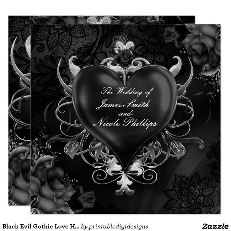 Black Evil Gothic Love Heart Wedding Invitations