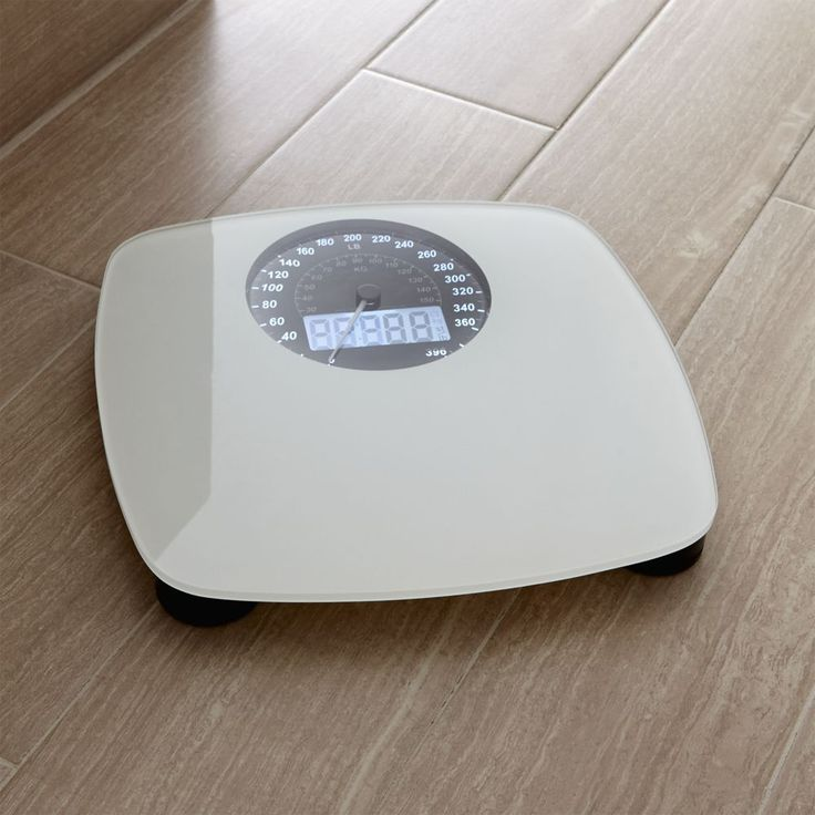Digital White Bathroom Scale - Crate and Barrel