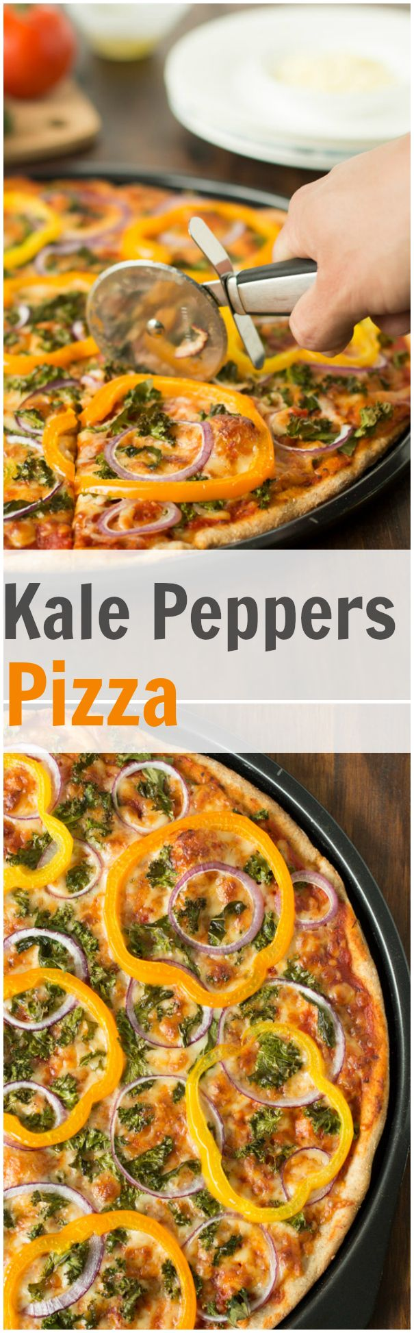 This Kale, Peppers, Red Onions pizza is an easy dish where fresh summer veggies can totally show off. It is made with homemade whole wheat pizza dough. primverakitchen.com
