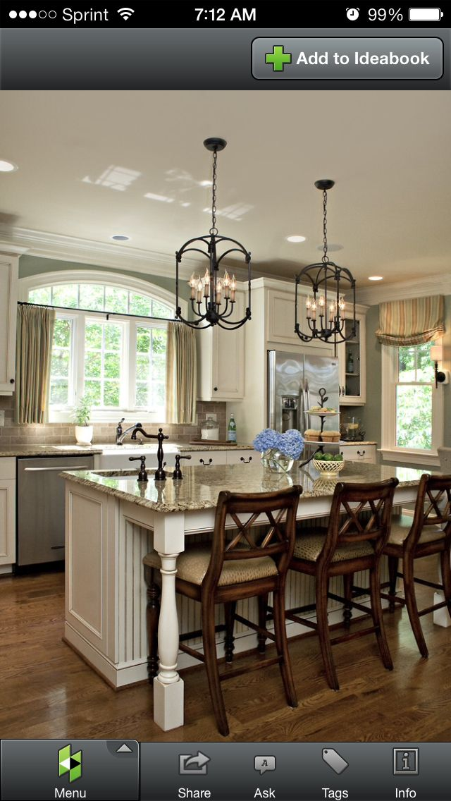 Traditional Kitchen Design, Love The Wall Color, Light Fixtures And Granite  With Tile