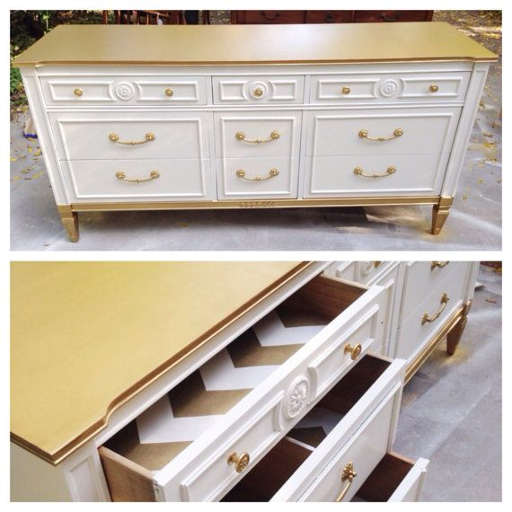 for the new dresser in the guest room - gold dipped dresser