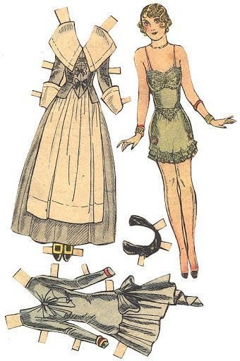 1920s paper doll flapper style