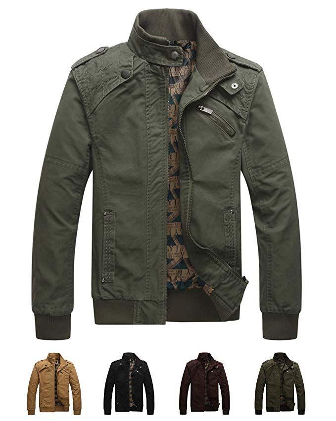 Jackets & Coats WenVen Mens Washed Canvas Work Shirt Jacket