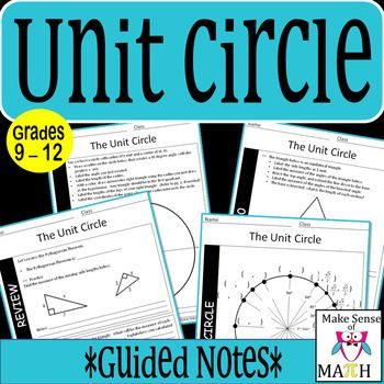 These 12 page unit circle guided notes delve into the mathematics of the unit circle.  Focus is placed on an understanding of side lengths of 45  45  90 triangles and 30  60  90 triangles.  This understanding is then transferred to the unit circle.  Students will calculate the coordinates of the unit circle using right triangles.