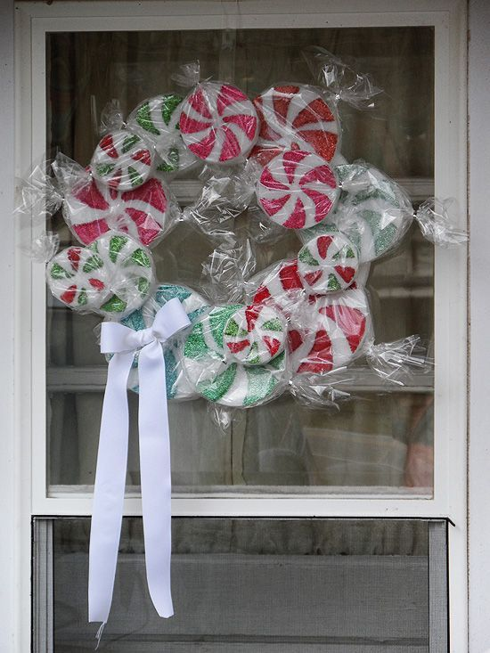 Peppermint Candy Wreath (or maybe a few single for a fun, candy-themed tree!)
