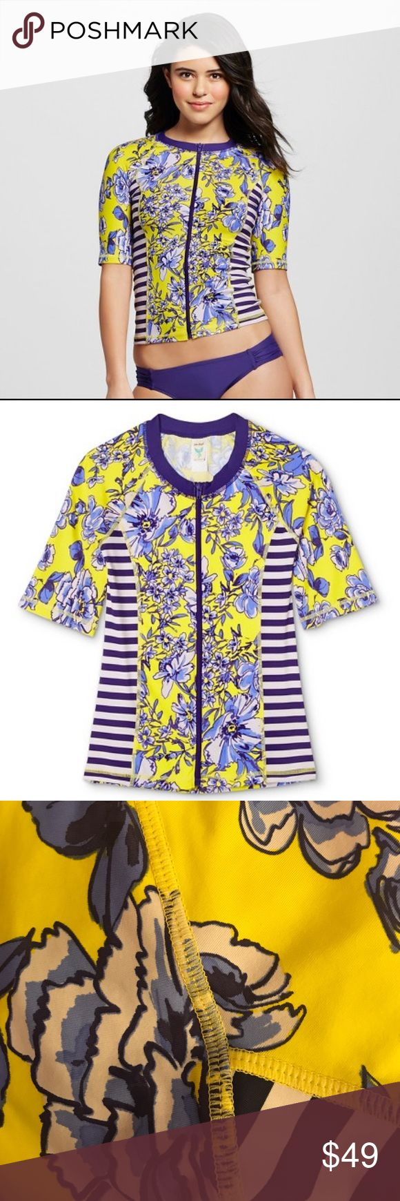 New! Swim Zip-Up Beach Top! 💕 New! Swim material. Blue. Yellow. Zipper. 10/10 Condition no rips or tears. Perfect Condition, quality fabric. Soft & Stretchy. Accentuates your figure. Makes even an A cup look amazing & up to a small 32D! Chest flattering ;) zip up for family outings or zip Lower for a Flirty Beach Girl Vibe 💕 Serious Offers only!❤️ Anthropologie Swim