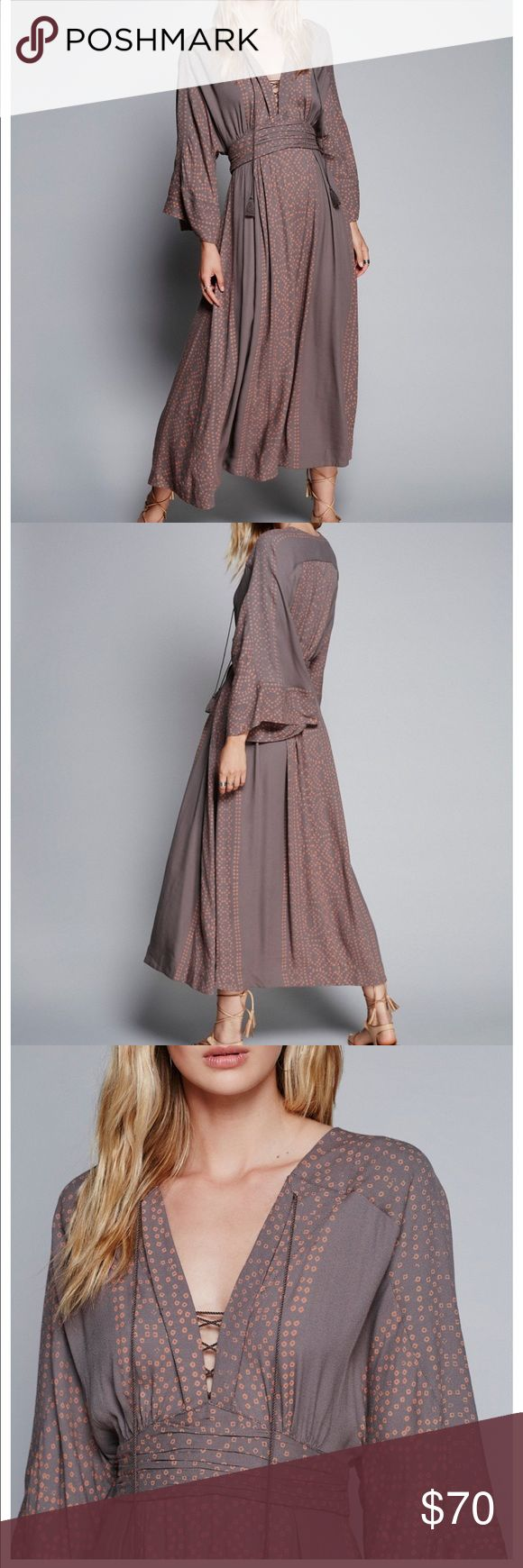 Free people modern kimono dress gray 0 Brand new with tag Free People Dresses Midi