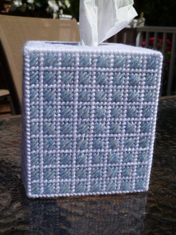 Upright Tissue Box Cover  Shades of Blue  by Carolcatscrafts, $9.99