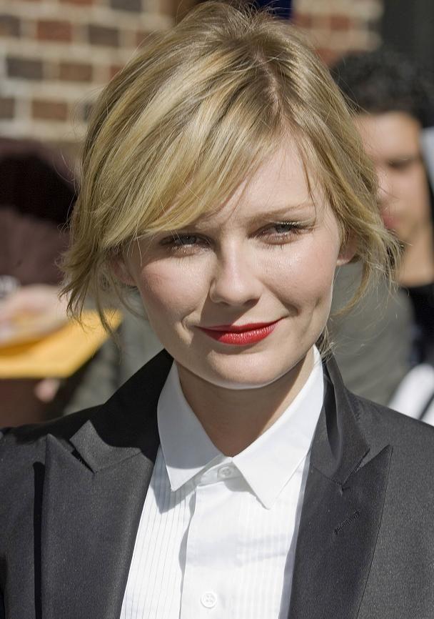 Kirsten Dunst pixie cut for round faces