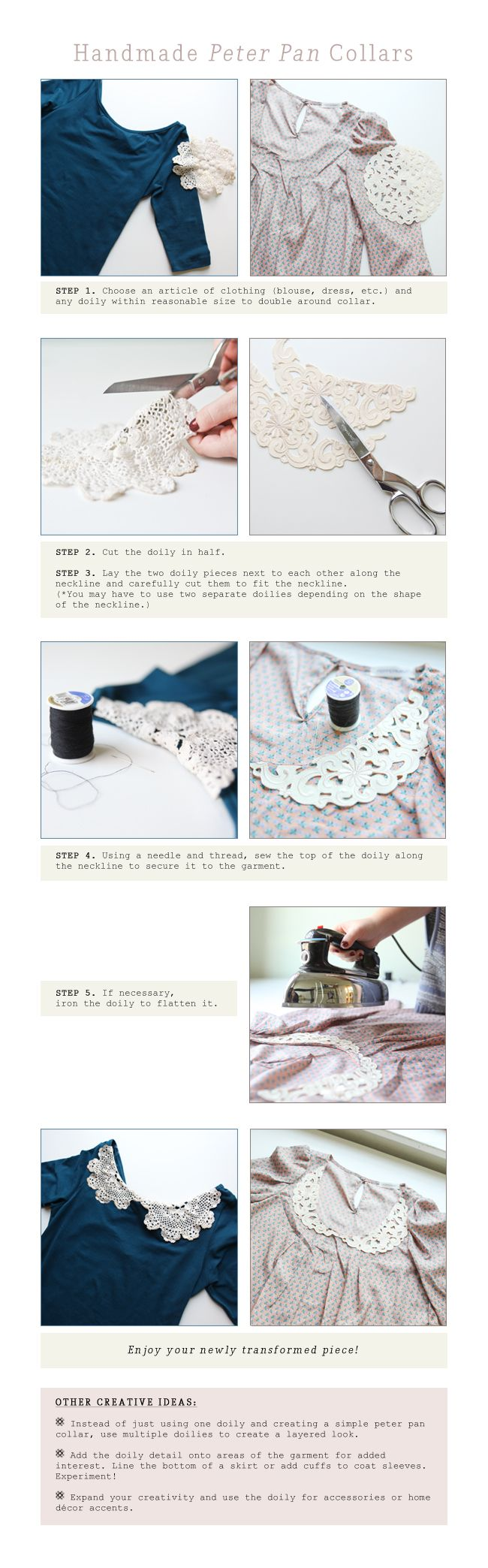 doily collarsDiy Ideas, Fashion Ideas, Diy Crafts, Diy Fashion, Peter Pan Collars, Lace Collar, Peterpan, Earth Day, Vintage Diy