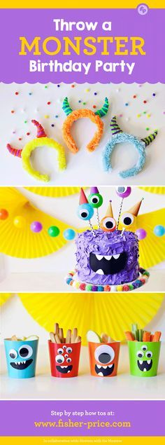 From the crazy-cute cake to the furry horn headbands, these easy monster birthday party ideas will give you everything you need to throw a super-silly and fun party. See more at Fisher-Price.com