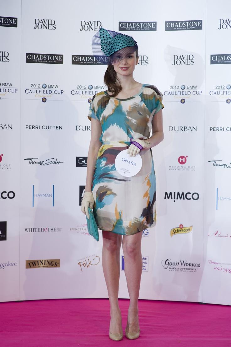 Ohara dress design with Izziana Millinery headpiece for the Caulfield Design award.