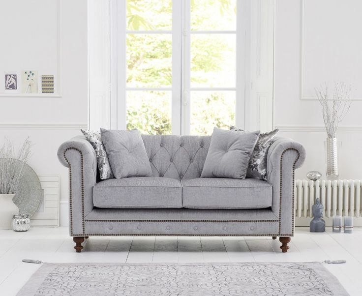 Milano Chesterfield Grey Fabric 2 Seater Sofa | The Great Furniture Trading Company