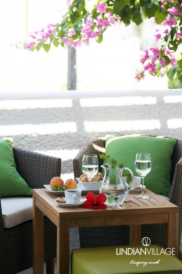 Coffee break under the bougainvilleas – Relax and enjoy! #lindianvillage #rhodes