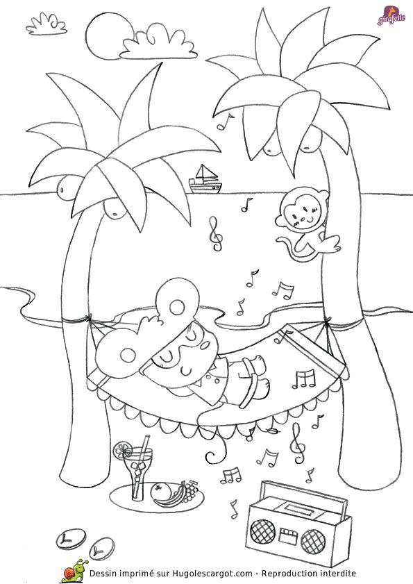 Dessin de girafette faisant la sieste sur un hamac - Dessin de vacances ...