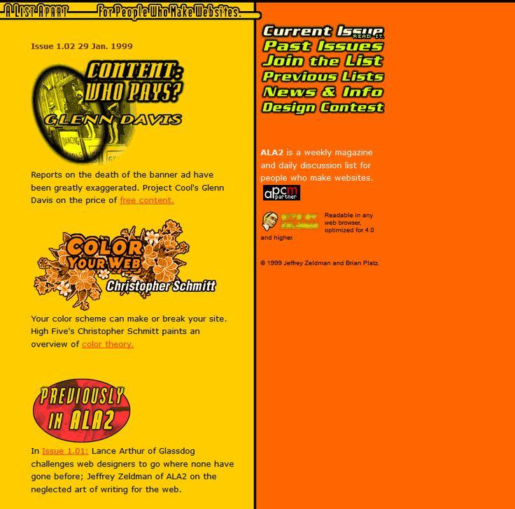 A List Apart website 1999