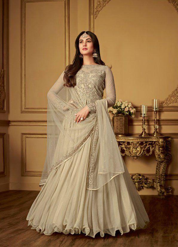 9253bae947502 Buy Sonal Chauhan Beige Net Wedding anarkaliin UK, USA and Canada in ...
