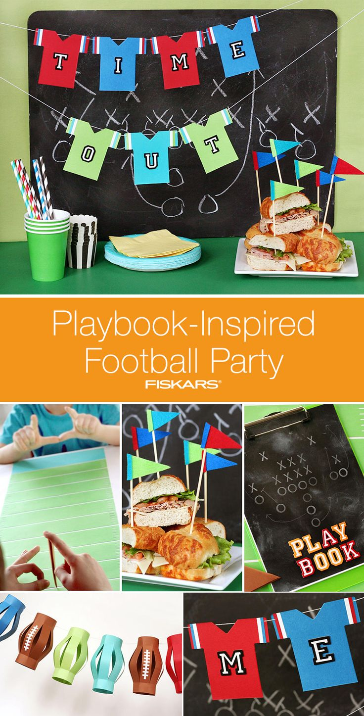 Gear up for the big game with a football bash of your own. Click in to find decoration inspiration for a playbook-themed party. Learn how to make kids clipboard activities, table football games, football lanterns, a jersey banner and penants to decorate sandwiches and desserts.