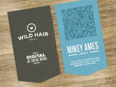 Wild Hair. Love the simplicity, although not a big fan of QR codes. #businesscard #qrcode