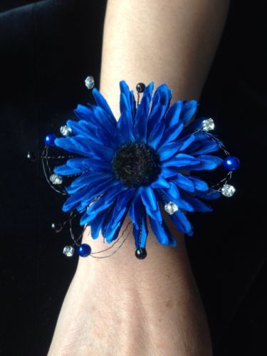 Wedding Prom Wrist Corsage Royal Blue Black Gerbera ON Bangle Made TO Order…