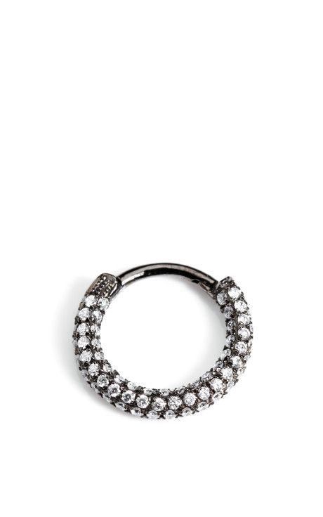18K White Gold and Black Rhodium Diamond Clicker Earring by Maria Tash Now Available on Moda Operandi