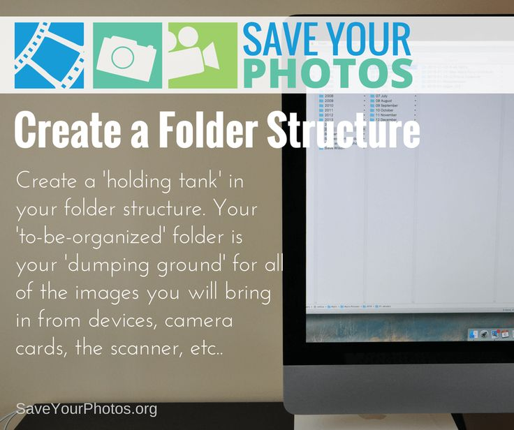 Create a basic folder structure for your digital photos. This will act as a holding tank for them as you work through the organizing process. #saveyourphotos