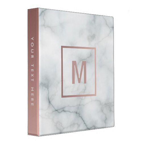 monogram rose gold and white marble stone 3 ring binder