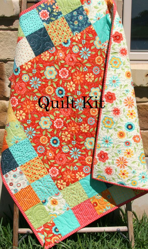 Last one quilt kit baby blanket project moda fabrics block party flowers red yellow orange - Do it yourself moda ...