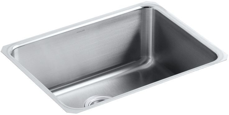 "Kohler K-3325-HCF Undertone Preserve 23"" Single Basin Undermount Stainless Steel Stainless Steel Fixture Kitchen Sink Stainless Steel"