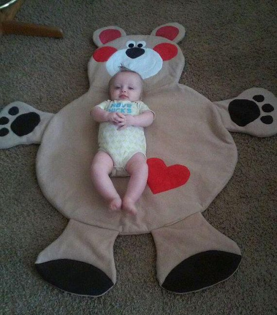 Bear Blanket / play mat / wall by MakeMeSmileCreations on Etsy