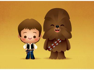 Han Solo & Chewie - #StarWars #illustration #cute