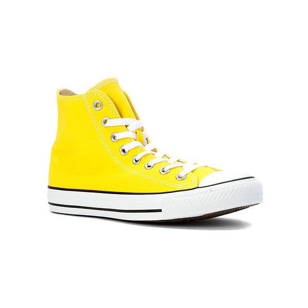 Converse Chuck Taylor High Top Sneaker ($41) ❤ liked on Polyvore featuring shoes, sneakers, athletic-inspired, citrus yellow, women's, high top trainers, hi tops, converse high tops, yellow sneakers and yellow high tops