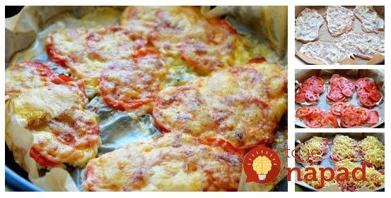 Veľmi chutné sviatočné jedlo, ktoré je na rozdiel od vyprážaných rezňov zdravšie ajeho príprava je rýchla ajednoduchá. Ochutnajte aj vy túto skvelú variantu klasického nedeľného menu. Potrebujeme: 600 g kuracích rezňov 1 cibuľu 5 paradajok 250 g strúhaného syra 4 lyžice majonézy Soľ ačierne mleté korenie podľa chuti Postup: Kuracie psia narežeme na plátky hrubé...