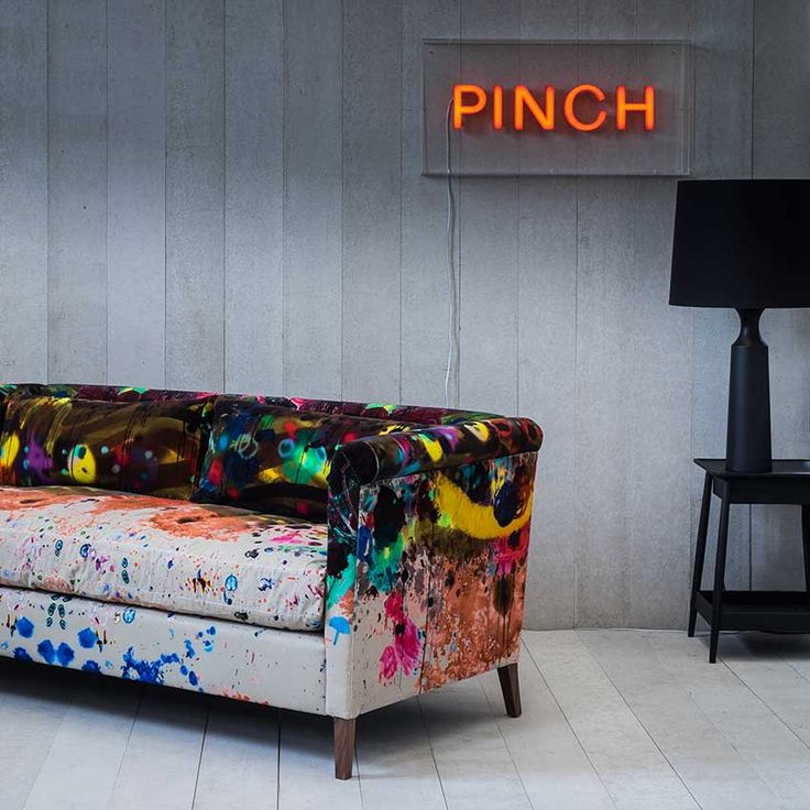'Noelle' sofa upholstered in 'Graffiti' fabric by Timorous Beasties & Pinch Design. Maison & Objet Paris