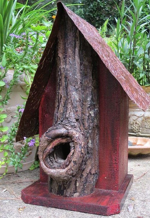 Rustic birdhouses feature natural predator guards