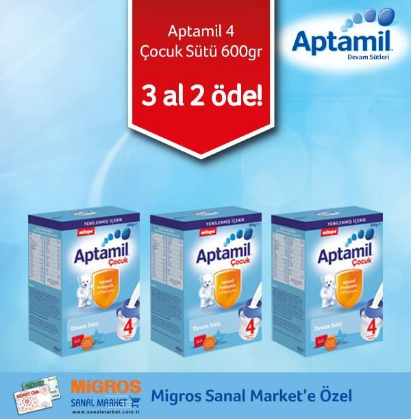 Çocuk gelişimini destekleyen devam sütü; Milupa Aptamil 4 Çocuk Sütü 600 gr ürününde, Migros Sanal Market'e özel 3 al 2 öde kampanyasını kaçırmayın! http://www.sanalmarket.com.tr/kweb/prview/15295482-31249-milupa-aptamil-cocuk-4-600-gr-3-al-2-ode?utm_source=link&utm_medium=link&utm_campaign=230914_msm_facebook_milupa İsteyin, getirelim! http://www.sanalmarket.com.tr/kweb/browseShopCatalog.do?shopId=1