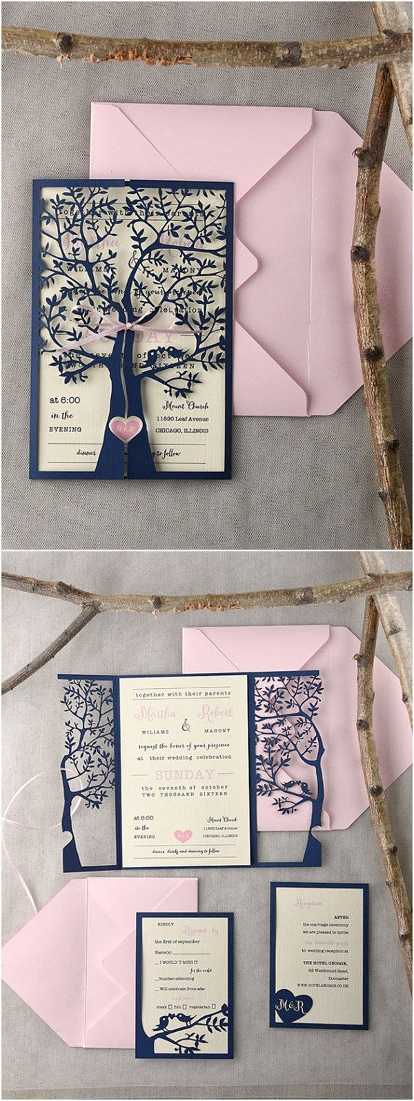 sending wedding invitations months before%0A Rustic Laser Cut Tree Pink Navy Wedding Invitations  I think if you change  from wedding to my family tree is growing that it could be cute