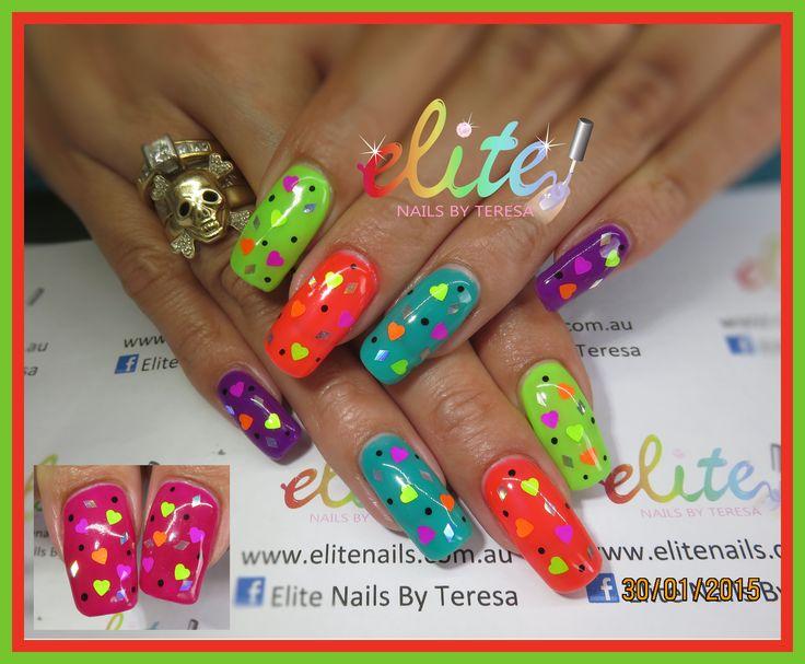 Fluro with shape glitters natural nails nail art Elite Nails CND Shellac