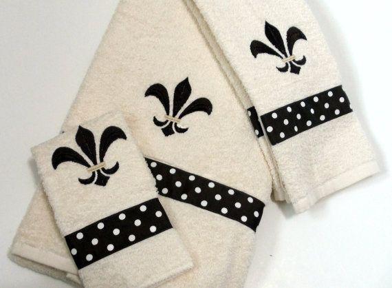 Embroidery  Flore De Lis Ribbon Dots Brown  on by kalliescotton